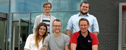 GTrak team Alistair Blunsdon, Marketing Manager, Tom Smith, Technical Director, Frances Chambers, Customer Support Manager, James Anderson, Operations Manager and Ashley Meson, Chief Executive. . Link to GTrak on course for Fusion Hive.