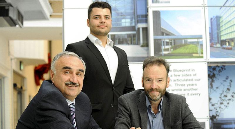 From left - Professor Nashwan Dawood, Omar Tapponi and Peter Barker.