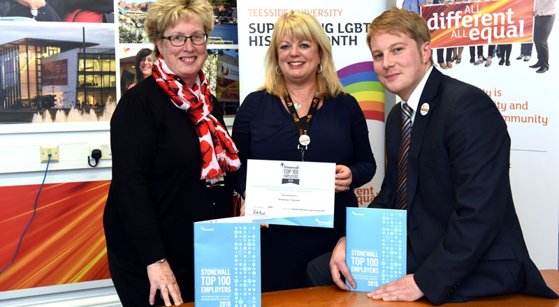 Joan Heggie, who chairs the University's LGBT Focus Group, Equality & Diversity Adviser Margaret McFee and Michael Lavery, Executive Director, External Relations and LGBT champion