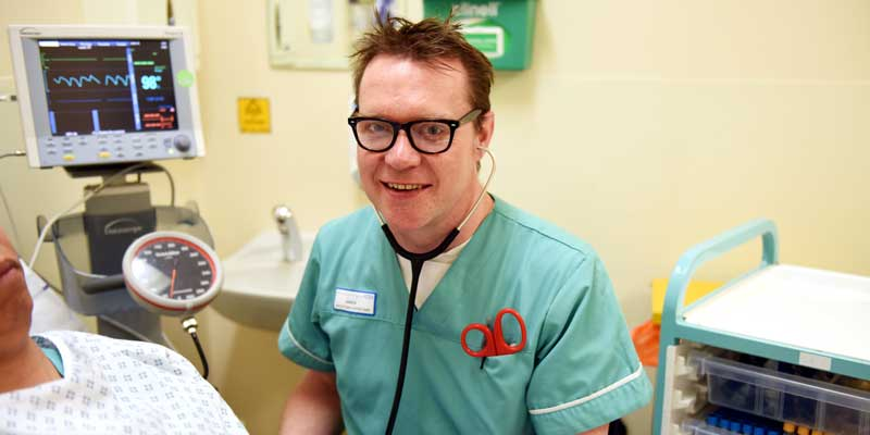 James Sullivan, who is studying the Higher Apprenticeship in Health while working as a Healthcare Assistant in A&E at University Hospital of North Tees.