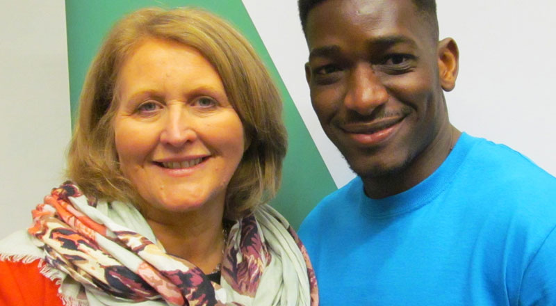 Yacouba Traore with Children's Commissioner Anne Longfield OBE . Link to Yacouba Traore with Children's Commissioner Anne Longfield OBE .