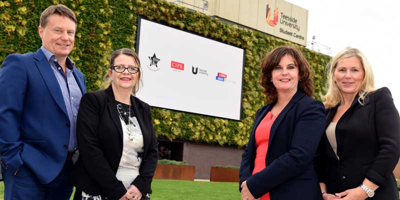 Steve Cochrane of Psyche, Sally Pearson, Chair of the Chartered Institute of Public Relations, Professor Jane Turner, Pro Vice-Chancellor (Enterprise and Business Engagement) at Teesside University, Max Freer, from Creative Business Collaborations.