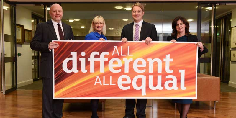 Teesside University Diversity Champions, left to right, Malcolm Page, Chief Operating Officer, Juliet Amos, Executive Director (Human Resources), Michael Lavery, Executive Director (External Relations) and Professor Jane Turner, Pro Vice-Chancellor (Enterprise and Business Engagement).