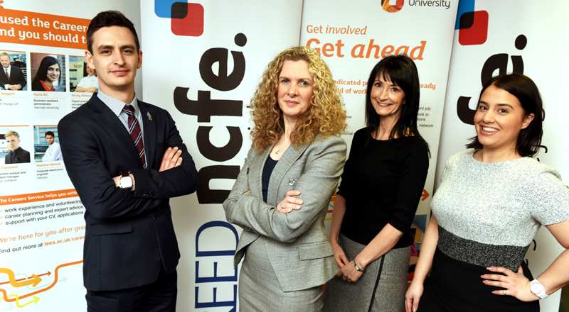 From left - Chris Roberts (Graduate Recruitment Team Manager, REED NCFE), Meryl Levington (Head of Student Futures, Teesside University), Sue Stockwell (Senior Careers Adviser, Teesside University) and Yasmin Hajim (Graduate Recruitment Officer, REED NCFE).