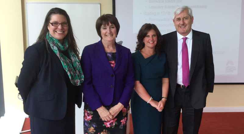 From left - Sarah Glendinning, Laura Woods, Professor Jane Turner and Paul Drechsler CBE