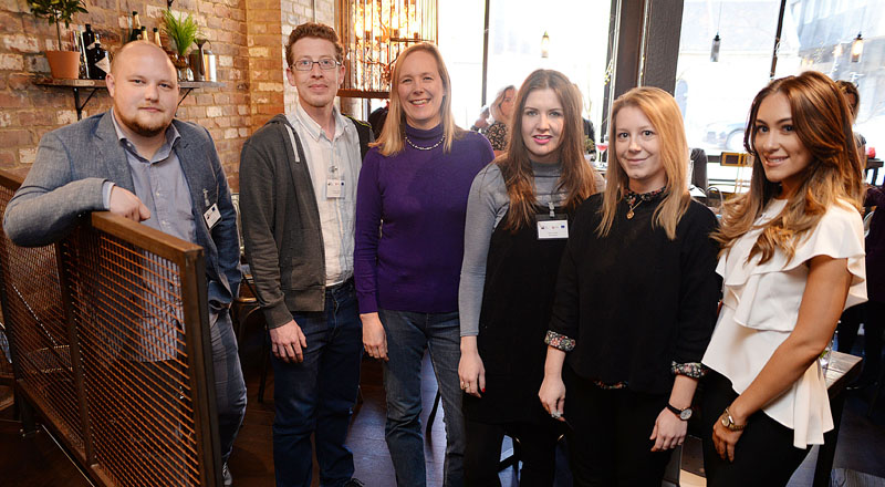 The panel at the Women in Digital event. From left - James Lees, Dominic Lusardi, Kate Baucherel, Joanna Wake and Anna Smith with DigitalCity student director Natalie Woods (far right).. Link to Women in Digital event brings students and business together.