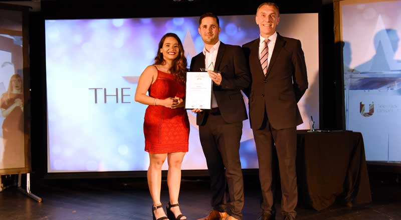Darren Johnson, receiving his Most Inspirational Member of Staff award.
