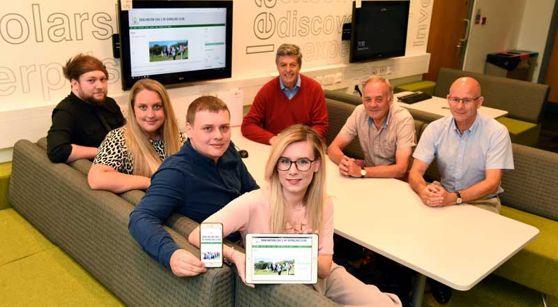 Teesside University students Jay Snow, Charlotte Cooney, Michael Wilson and Sophie Kelly, with club members Ian Bagshaw, Ian Nelson and Ged Shotton.