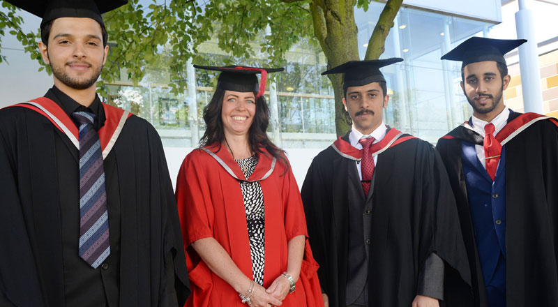 Teesside University academic Melanie Brown pictured with the graduates