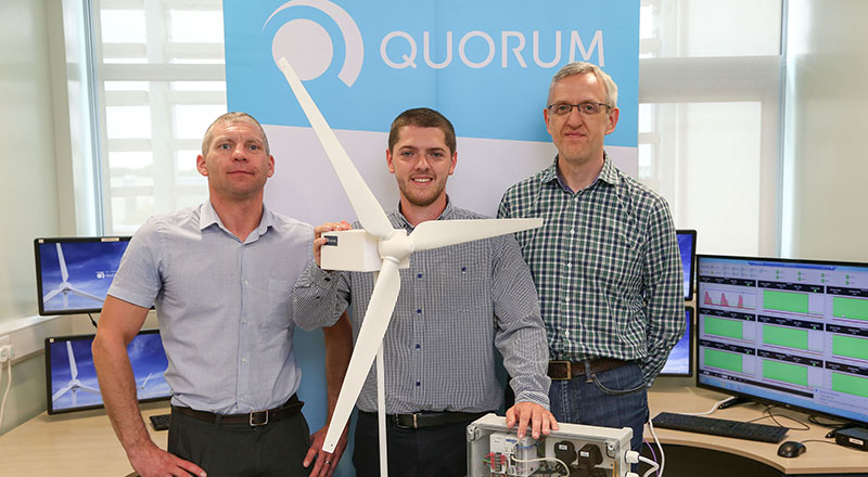 From left - Dr Michael Short, Jordan Robinson and Paul Usher, Business Development Director at Quorum.