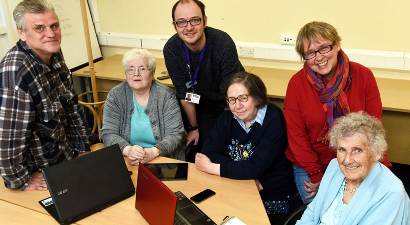 Dr Alison Jarvis, (back right) with members of the LEGs & Co community group and Martin Jameson from Ageing Better Middlesbrough