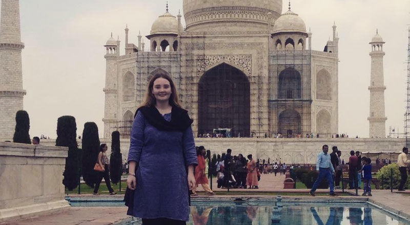 Leah Gibbs, pictured during her trip to India