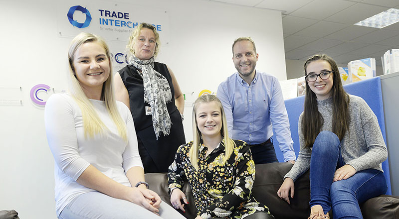 Trade Interchange Marketing Executive Lucy Burgon, Teesside University'Business Innovation Manager Gilly Hall, Jessica Bates, Trade Interchange Managing Director Mike Edmunds and Emily Baldwin.