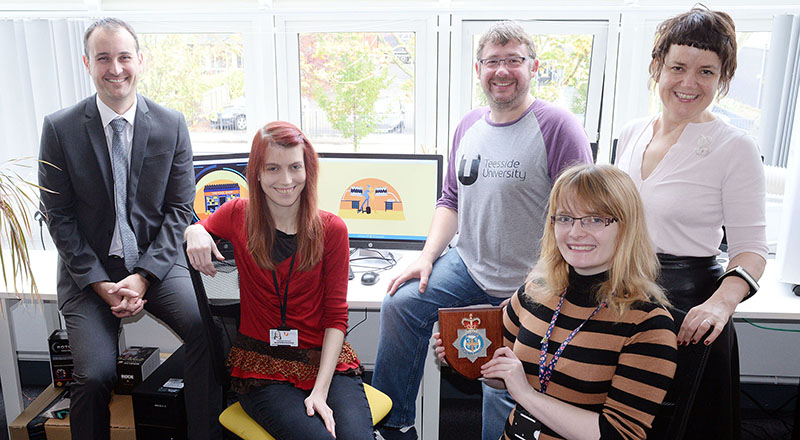 L-R: Detective Sergeant Martin Wilson, Kayleigh Stevens (Assistant Producer), Tim Brunton (Senior Lecturer and Animation Producer), Rose Gibbin (Animator) and Siobhan Fenton (Associate Dean).