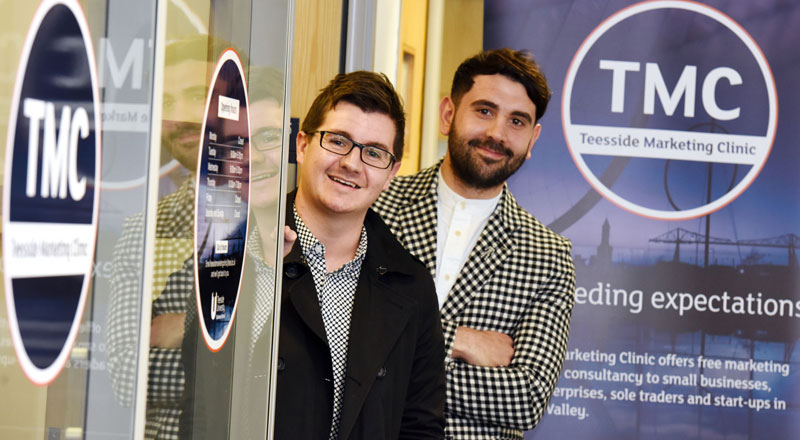 BA (Hons) Marketing students Steven Askham and Luke Evans at Teesside Marketing Clinic . Link to BA (Hons) Marketing students Steven Askham and Luke Evans at Teesside Marketing Clinic .