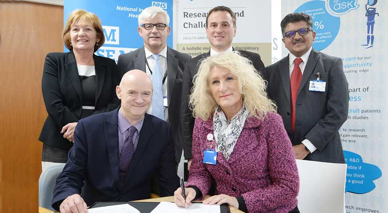 Professor Simon Hodgson and Julie Gillon, with Linda Nelson, Accountable Officer at North Tees and Hartlepool NHS Foundation Trust Alan Foster, Dr Paul Williams and Professor Samir Gupta.. Link to New partnership to boost healthcare education and research.