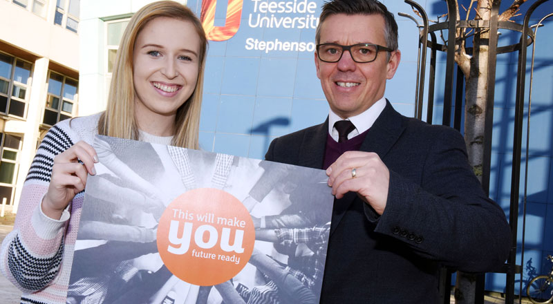 Graphic Design student Megan Howard with Chris Walker, Deputy Director, Student Recruitment & Marketing. Link to Student Megan ensuring she is ready for the future.