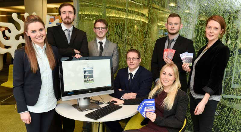 Teesside University students Michael Barley, Dawn McBeath, Richard Bairstow, Jordan Rundle with Sports Direct staff Jo Mclaren, Charlie Wilber and Emily Hilditch.. Link to Students' digital skills offer fresh perspective to a global sports brand.