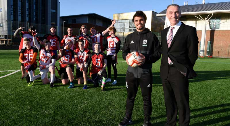 Teesside University Vice-Chancellor and Chief Executive Professor Paul Croney with Middlesbrough FC's Fabio Da Silva.. Link to Teesside University Vice-Chancellor and Chief Executive Professor Paul Croney with Middlesbrough FC's Fabio Da Silva..