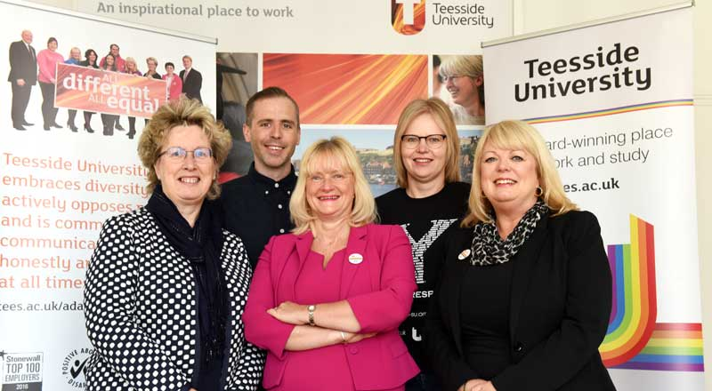 Teesside University's LGBT+ Focus Group (left to right): Dr Joan Heggie, Dominic Dunn, Juliet Amos, Helen Severs and Margaret Younger.