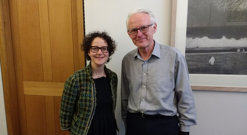 Dr Amelia Lake with MP Norman Lamb.. Link to MP invites academic to provide expertise on energy drinks and young people.