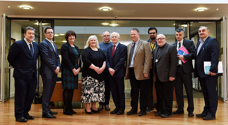 Dr Alasdair Taylor (second from left) and Dr Katy Gearing (fourth from left) from the Royal Society met with staff from Teesside University to learn about how it is collaborating with business.