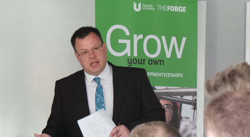Jonty Bloom speaking at Teesside University's Working with Business conference