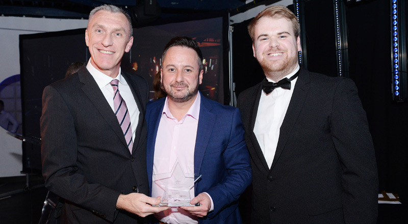 Vice-Chancellor and Chief Executive Professor Paul Croney, Steve Dougan, winner of the Innovation and Enterprise award and Tom Platt, President (Education) of the Students' Union.