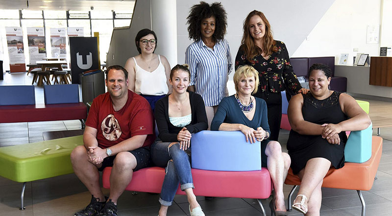 Front row (L-R): Adam Howe, Karina Le Fevre, Lesley Conroy, Lisa Smith. 