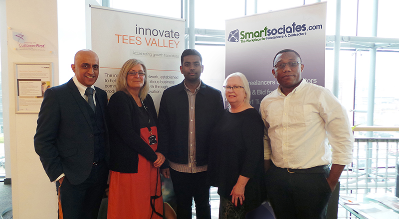 From left - Mansha Nawaz (Senior Lecturer, Teesside University), Sue Gilbert (Innovation Exchange Coordinator, Teesside University), Sankeeth Sriranganathan (knowledge exchange intern), Liz Rooney (Project Associate, Nepic), Pascal Pemha (Venture Lead, Smartsociates).