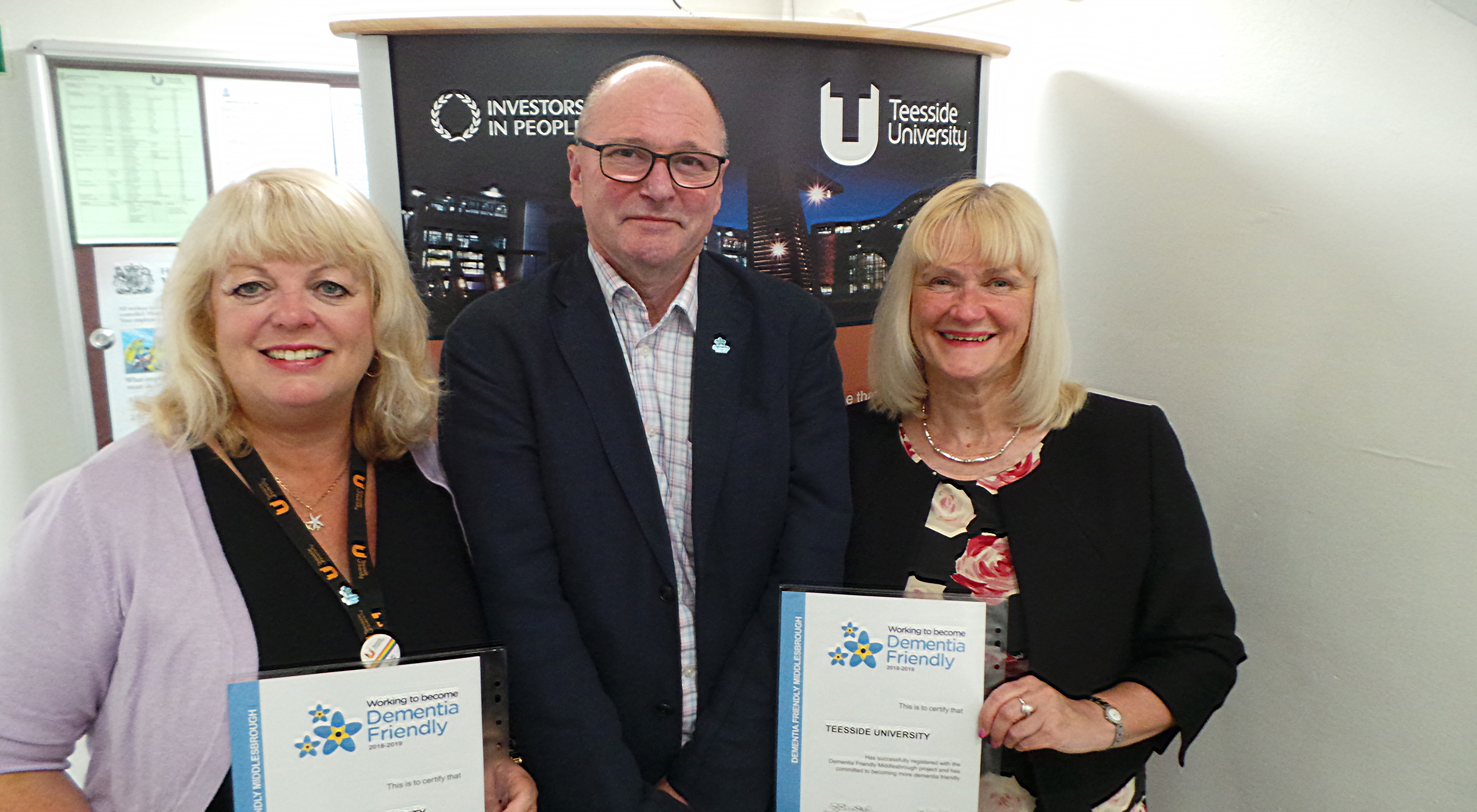 Margaret Younger, Equality and Diversity Adviser,  Juliet Amos, Director of Human Resources and Brian Rowcroft, Project Lead for Dementia Friendly Middlesbrough.