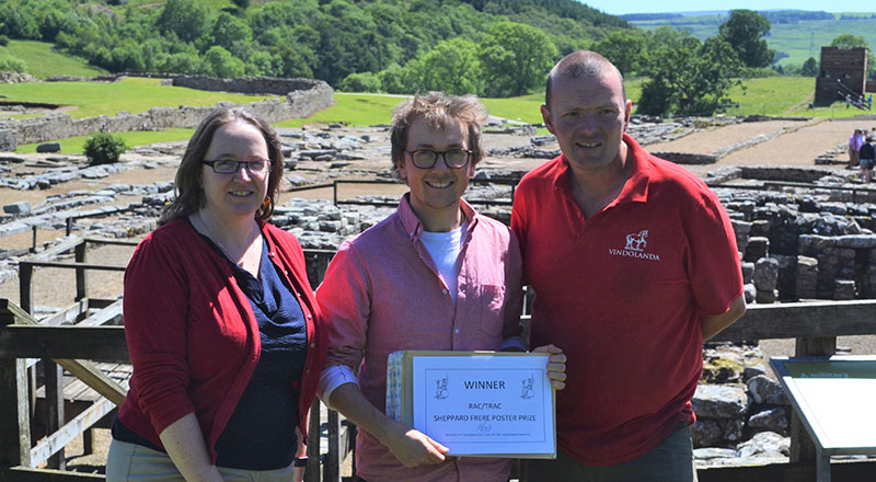 Dr Gillian Taylor, Rhys Williams and Dr Andrew Birley at Vindolanda