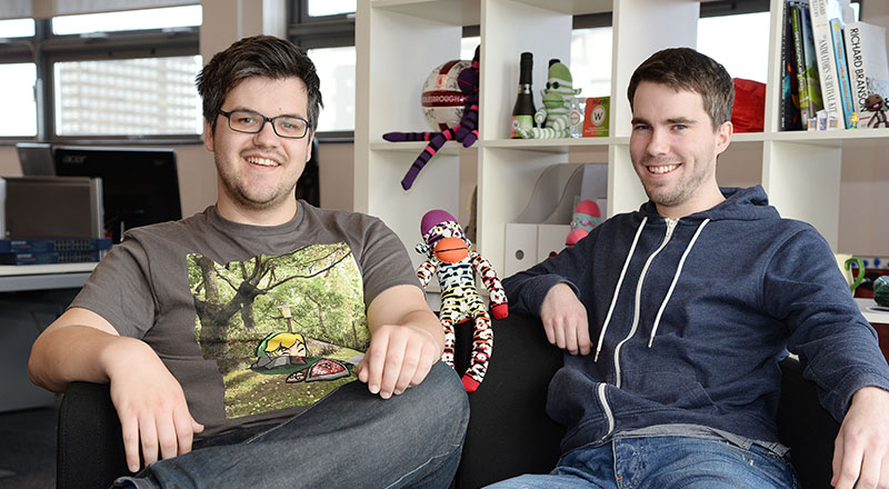 Bob Makin (left) and Darren Cuthbert (right), founders of SockMonkey Studios.. Link to Survey reveals success of Teesside University graduate businesses.