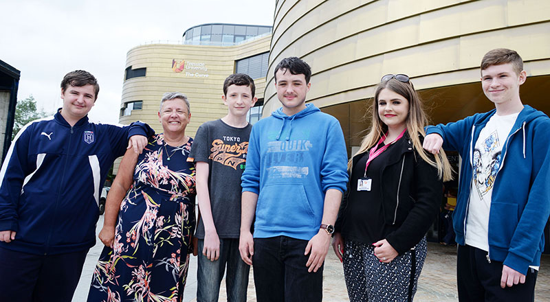 Professor Dorothy Newbury-Birch and Gillian Waller from Teesside University with Michael Hayden, Daniel Barber, Scott Brown and Lewis Hudson.