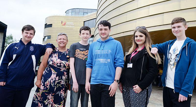 Professor Dorothy Newbury-Birch and Gillian Waller from Teesside University with Michael Hayden, Daniel Barber, Scott Brown and Lewis Hudson.
