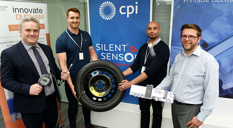 From left - Marcus Taylor, CEO, Silent Sensors; Sam Evans, Electronic Development Engineer, Silent Sensors; Waleed Elmughrabi, Electronic Development Engineer, Silent Sensors; Tyrone Davison, Principal Lecturer, Teesside University