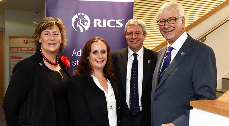 Left to right: Victoria Hampson (RICS Regional Director, North & Midlands), Rachel Anderson (Policy Director at the North East Chamber of Commerce), Chris Pearson (Chair of the RICS North East Regional Board), John Hughes FRICS (RICS President).