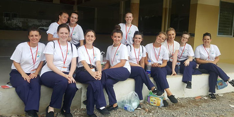 Students spent time in the intensive care unit, accident and emergency, obstetrics, paediatrics, medical ward, surgical ward and mental health ward in Cambodia.
