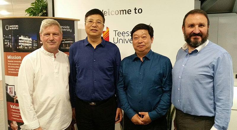 Rob Burton (left) and Dr Ruben Pinedo-Cuenca (right) with Professor Fan Weidong, President of the Suzhou Art & Design Technology Institute and Professor Xie Jianping, Vice-President of  the Wuxi Institute of Arts & Technology.. Link to Chinese design academics visit Teesside University.