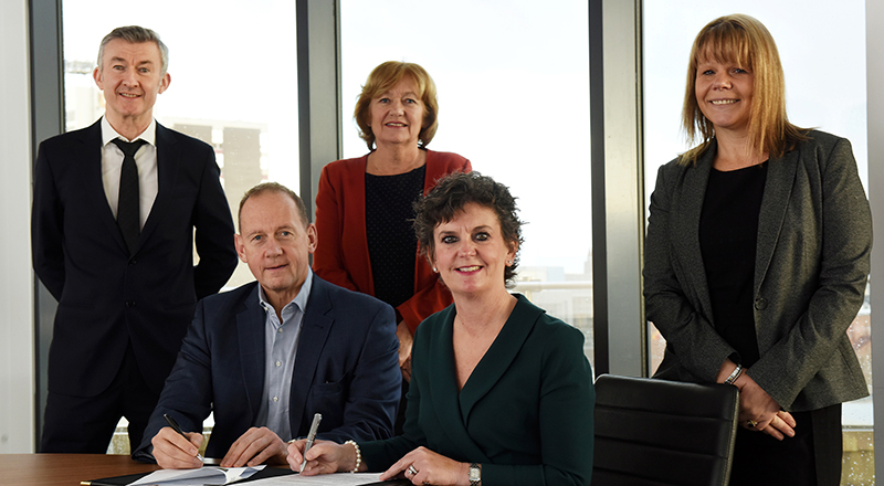 Professor John Dixon, Associate Dean, (Research and Innovation), Professor Andrew Walton, Executive Chair at Connect Health, Linda Nelson, Associate Dean (Enterprise and Business Engagement), Professor Jane Turner OBE DL, Pro Vice-Chancellor (Enterprise and Business Engagement) and 