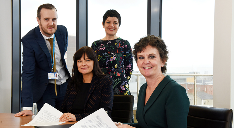 Matt Brooke, Software Engineering Manager, Leanne Wilkinson, Head of Finance, Siobhan Fenton, Associate Dean (Business and Enterprise) at Teesside University and Professor Jane Turner OBE DL, Pro Vice-Chancellor (Enterprise and Business Engagement) at Teesside University.