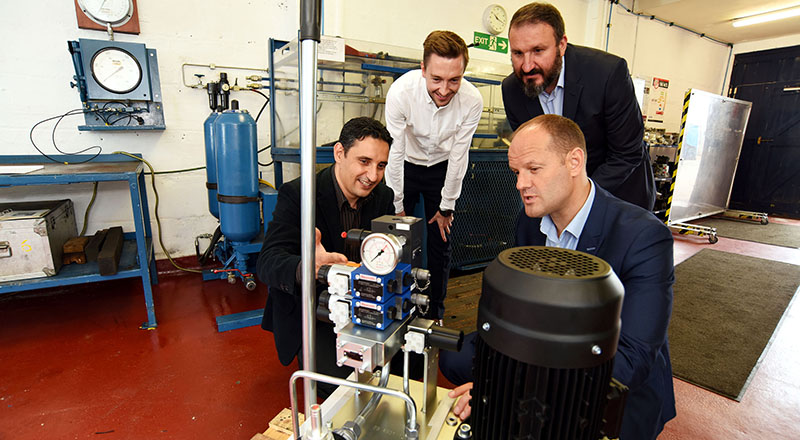 Dr Osama Alaskari, James Griffiths, Dr Ruben Pinedo-Cuenca and Ian Duffew at Industrial and Marine Hydraulics.
