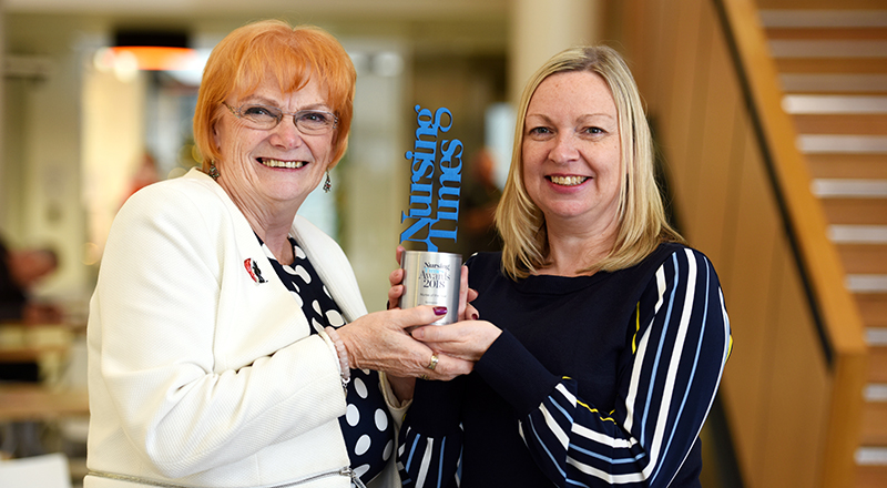 Helen Scullion (right) with Marion Grieves, Dean of the School of Health & Social Care