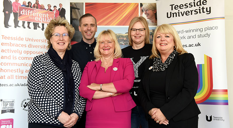 Teesside University's LGBT+ Focus Group (left to right): Dr Joan Heggie, Dominic Dunn, Juliet Amos, Helen Severs and Margaret Younger