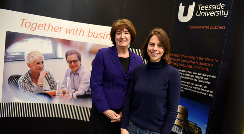 Laura Woods (left) with Kresse Wesling at Teesside University's Centre for Professional and Executive Development
