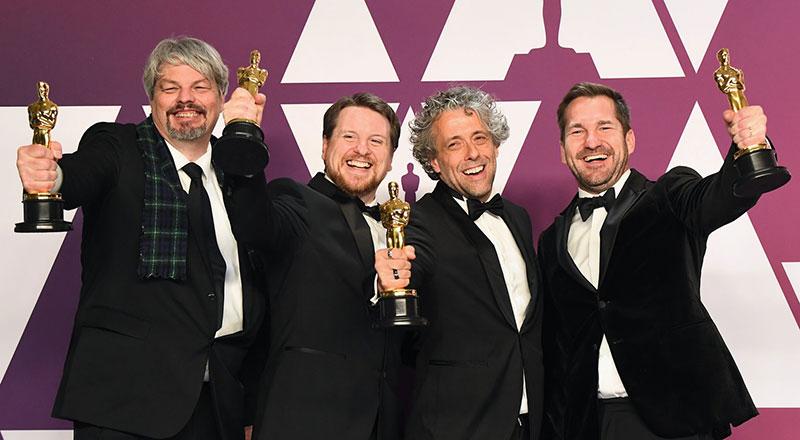 Oscar winners, from left, Ian Hunter, Tristan Myles, Paul Lambert, JD Schwalm
