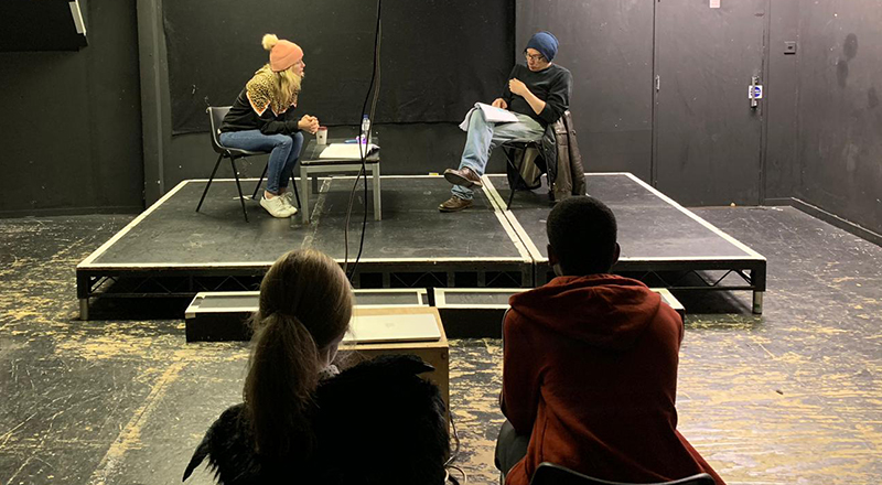 Rehearsals for 'Fit for Work'. Link to Graduate play premieres in the West End..