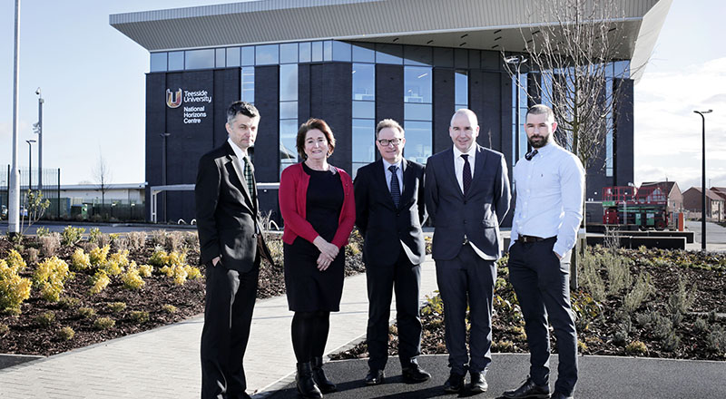 L-R) Dean of the School of Science, Engineering & Design Professor Stephen Cummings, Director of Academic Enterprise Laura Woods and Director of Campus Services Darren Vipond  with Wates Construction's Operations Director Neil Matthias and Project Manger Nick White pictured at the new National Horizons Centre at Teesside University in Darlington.