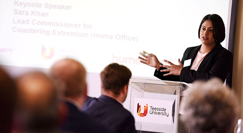 Sara Khan speaking at Teesside University