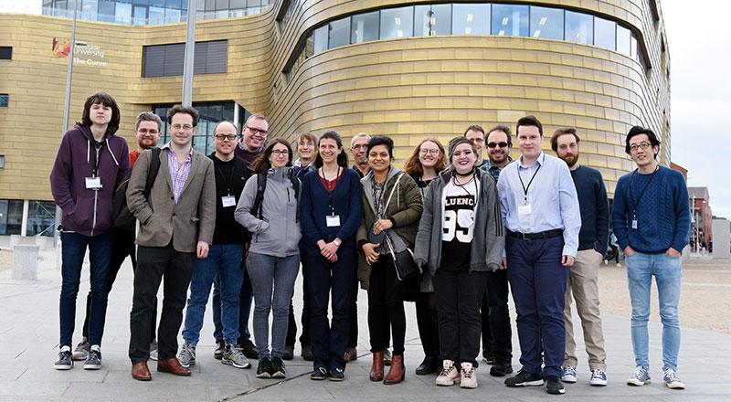 Conference picture including the speakers Isolde Adler (Leeds), David Cushing (Durham), Thomas Sauerwald (Cambridge), He Sun (Edinburgh), Sven-Ake Wegner (Teesside) and Luca Zanetti (Cambridge).
